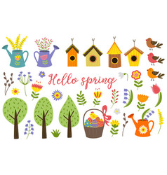 set isolated elements spring vector image