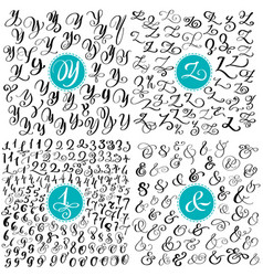set letter y z numbers ampersand hand drawn vector image
