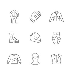 set line icons motorcycle clothes vector image