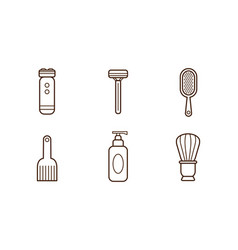 set of linear barbershop tools electric vector image