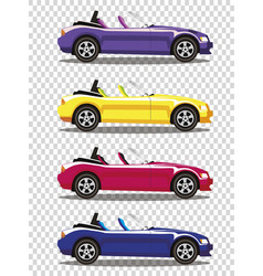Set of modern cartoon colored cabriolet cars vector