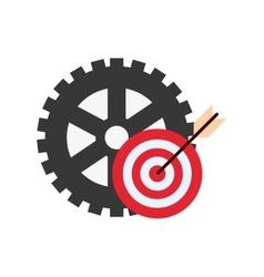 Single gear and bullseye icon vector