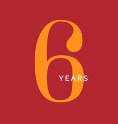 Six years symbol sixth birthday emblem vector