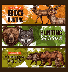 Sketch banner for wild animals hunting club vector