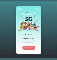 smart town buildings 5g online communication vector image
