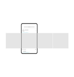 Smartphone with carousel interface post on social vector