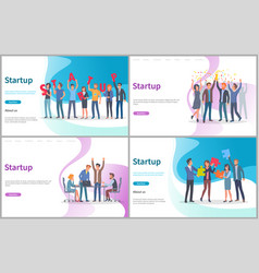 startup people with big letters conference set vector image