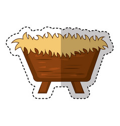 straw cradle manger icon vector image