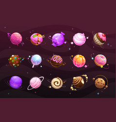 sweet world concept food planets on space vector image