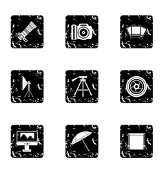 Taking photo icons set grunge style vector