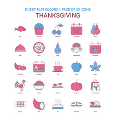 Thanksgiving icon dusky flat color - vintage 25 vector