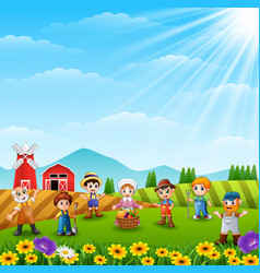 the farmers was gathered on the farm vector image