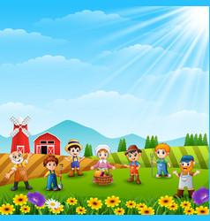 The farmers was gathered on the farm vector