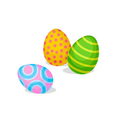 three eggs with different ornaments happy easter vector image