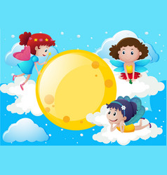 Three fairies flying around the moon vector