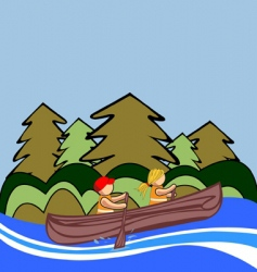 two kids canoe vector image