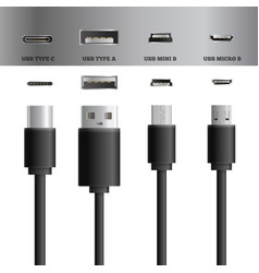 Usb cable socket set vector
