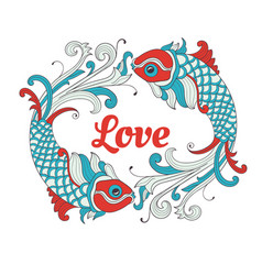 Valentines card with love fishes vector