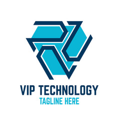 vip technology logo vector image