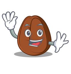 waving coffee bean character cartoon vector image