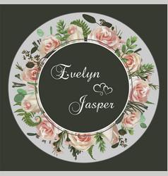 Wedding floral invitation invite card set green vector