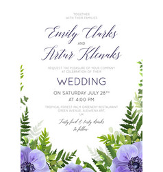 Wedding floral violet anemones invite card design vector