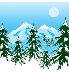 Winter in mountain vector image