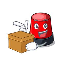 With box sirine character cartoon style vector