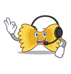 With headphone farfalle pasta mascot cartoon vector