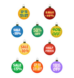 Xmas balls with promotional offers vector