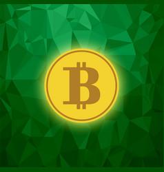 Yellow bitcoin icon crypto currency concept vector