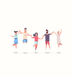 young people group holding hands men women jumping vector image