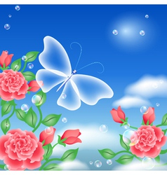 butterfly and roses vector image