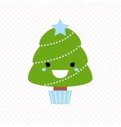 Cute christmas tree isolated on dotted background vector image