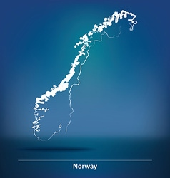 Doodle Map of Norway vector image