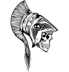 skull in helmet legionary vector image