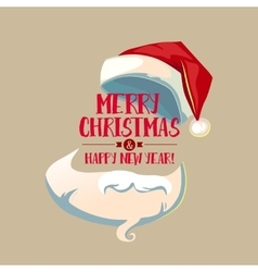 Vintage card with Santa hat and beard vector image vector image
