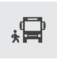 Bus and child icon vector image
