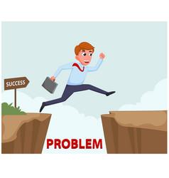 Businessman jump over cliff vector