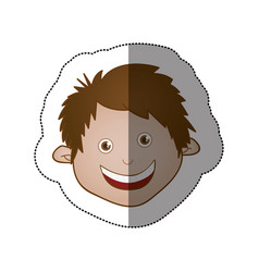 color sticker face boy icon vector image