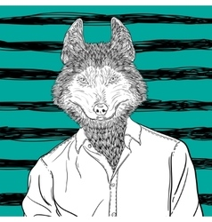 Sketch of head Husky Dog or wolf vector image