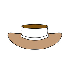 color sections silhouette of straw hat with ribbon vector image