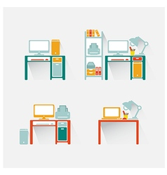 computer and table design vector image