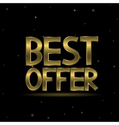 Golden best offer text vector image vector image