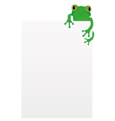 Green tree frog sitting on blank paper vector image vector image