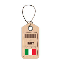 hang tag made in italy with flag icon isolated on vector image