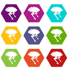 lightning cloud icon set color hexahedron vector image