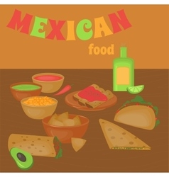 Mexican traditional food set traditional cusine vector image