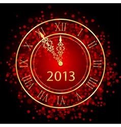 red and gold New Year clock vector image vector image