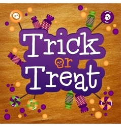 Trick or Treat Happy Halloween Greeting Card Gold vector image vector image